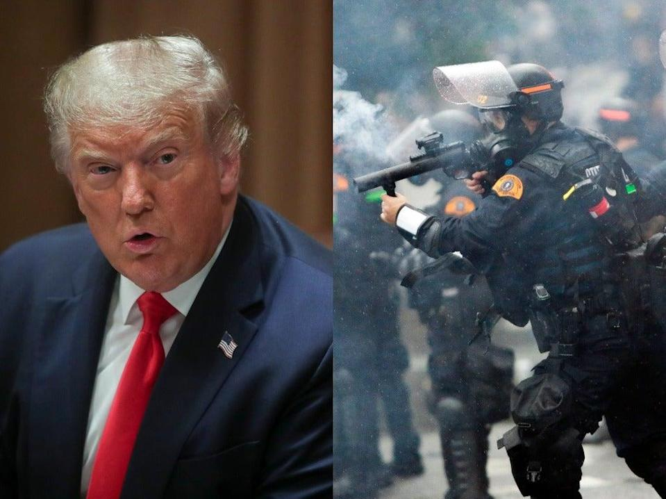 Amid nationwide uproar following the death of George Floyd Donald Trump allegedly told military officials that to 'handle' protesters they needed to 'crack their skulls' (Reuters/ Getty)