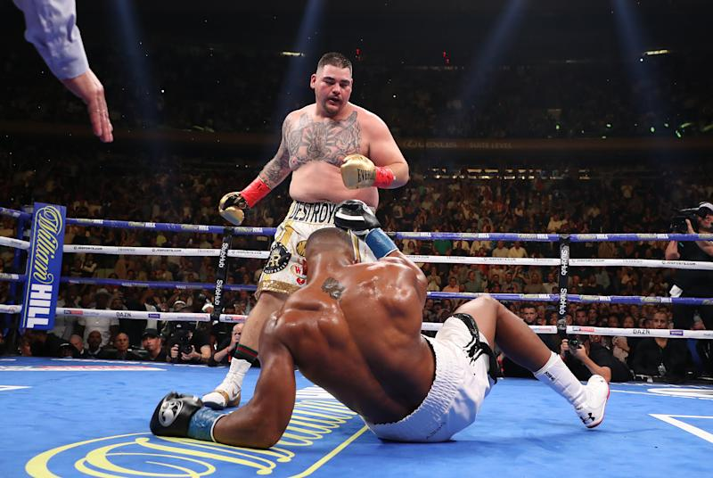 NEW YORK, NEW YORK - JUNE 01: Andy Ruiz Jr knocks down Anthony Joshua in the third round during their IBF/WBA/WBO heavyweight title fight at Madison Square Garden on June 01, 2019 in New York City. (Photo by Al Bello/Getty Images)
