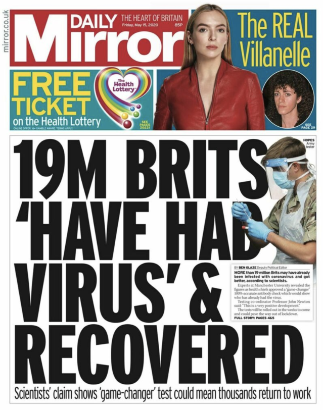 The results of the study were used in a front page story by the Daily Mirror on Friday. (Twitter)