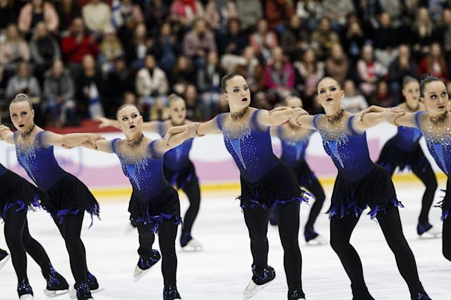ISU World Synchronized Skating Championships 2019 - Free Skating - Helsinki, Finland - April 13, 2019. Team Helsinki Rockettes from Finland performs. Lehtikuva/Roni Rekomaa via REUTERS ATTENTION EDITORS - THIS IMAGE WAS PROVIDED BY A THIRD PARTY. NO THIRD PARTY SALES. NOT FOR USE BY REUTERS THIRD PARTY DISTRIBUTORS. FINLAND OUT. NO COMMERCIAL OR EDITORIAL SALES IN FINLAND.