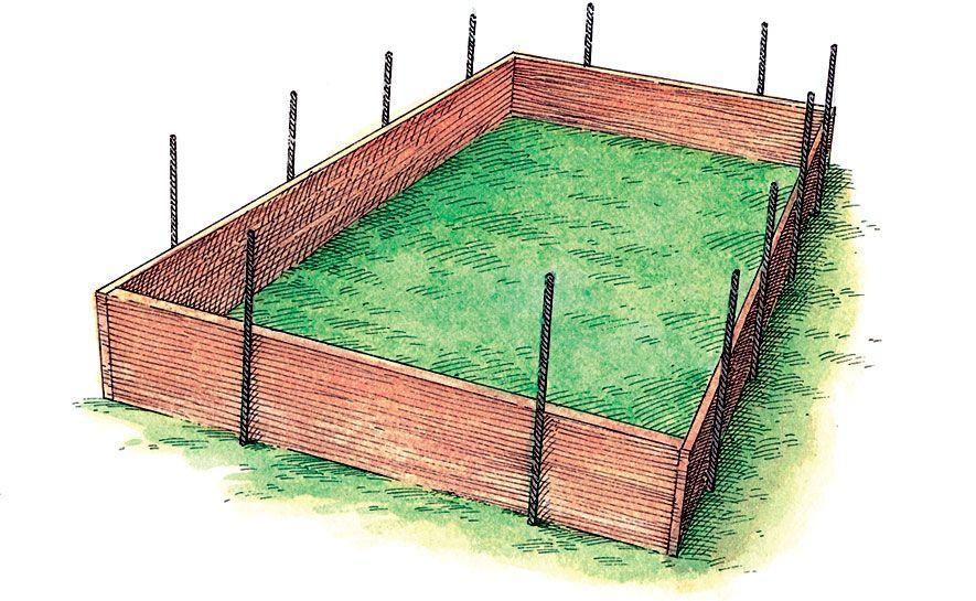 "<p class=""p1""><span class=""s1"">Hammer rebar a few inches deep a foot from each corner of the short sides and remove the temporary supports. Add two pieces of rebar 2 feet apart along each long side. These </span>will reinforce the frame when it's filled with soil. Then hammer in the rebar until 6 to 10 inches are exposed above ground. </p>"
