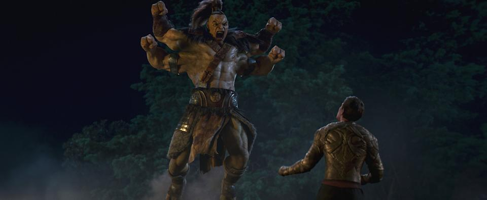 The four-armed fighter Goro attacks Cole Young (Lewis Tan) in the new Mortal Kombat film (Credit: Everett Collection).