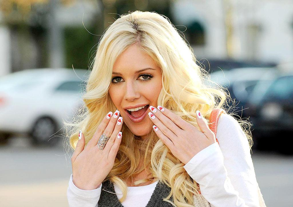 "Heidi Montag might love her custom manicure, but we think her ""I heart SP (Spencer Pratt)"" nails are unsightly. Sam Wordley/<a href=""http://www.pacificcoastnews.com/"" target=""new"">PacificCoastNews.com</a> - February 10, 2009"