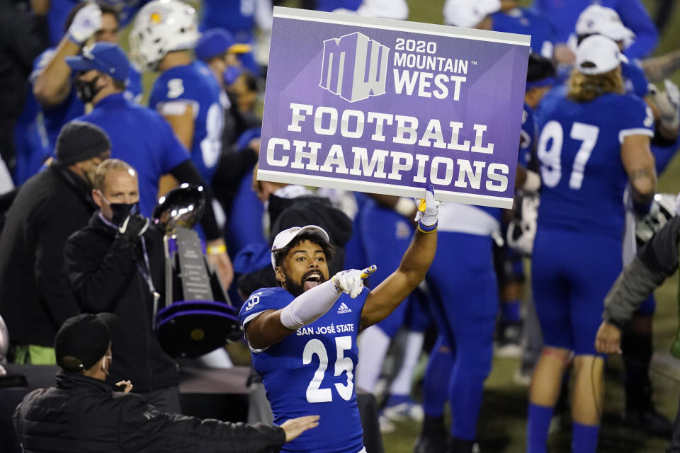 San Jose State cornerback Charlie Bostic (25) celebrates after defeating Boise State in an NCAA college football game for the Mountain West championship, Saturday, Dec. 19, 2020, in Las Vegas. (AP Photo/John Locher)
