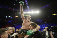 Tyson Fury, of England, celebrates after defeating Deontay Wilder in a WBC heavyweight championship boxing match Saturday, Feb. 22, 2020, in Las Vegas. (AP Photo/Isaac Brekken)