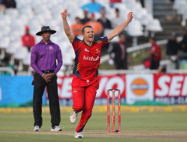 CAPE TOWN, SOUTH AFRCA - OCTOBER 16:  Dirk Nannes of the Highveld Lions celebrates during the Karbonn Smart CLT20 match between Chennai Super Kings (IPL) and Highveld Lions (South Africa) at Sahara Park Newlands on October 16, 2012 in Cape Town, South Africa.  (Photo by Carl Fourie/Gallo Images/Getty Images)