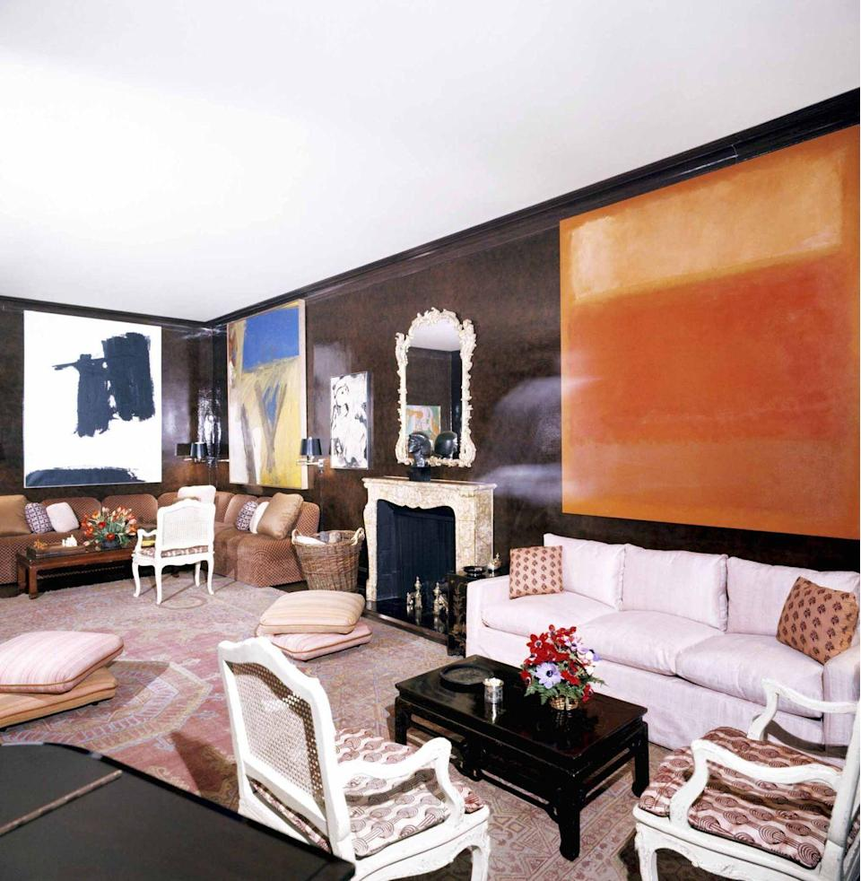 """<p>Often credited for kicking off the chocolate brown craze, interior decorator Baldwin believed that walls coated with the color should be lacquered, as seen here in the Manhattan apartment of Mr. and Mrs. Lee Eastman, designed by Baldwin in the 1970s.</p><p><a class=""""link rapid-noclick-resp"""" href=""""https://www.benjaminmoore.com/en-us/color-overview/find-your-color/color/2114-10/bittersweet-chocolate?color=2114-10"""" rel=""""nofollow noopener"""" target=""""_blank"""" data-ylk=""""slk:Get the Look"""">Get the Look</a></p>"""