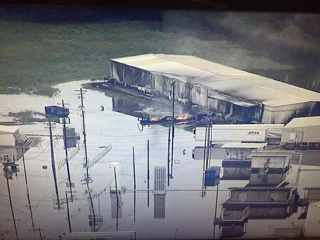 <p>A flooded Arkema Inc. chemical plant is seen after explosions sent a plume of fumes and smoke into the air early Thursday, Aug. 31, 2017, in Crosby, Texas. (AP) </p>