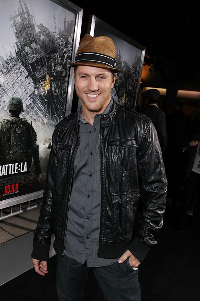 """<a href=""""http://movies.yahoo.com/movie/contributor/1800358502"""">Ross Thomas</a> at the Los Angeles premiere of <a href=""""http://movies.yahoo.com/movie/1810119633/info"""">Battle: Los Angeles</a> on March 8, 2011."""