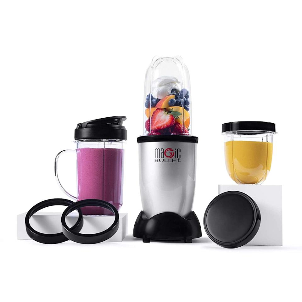 """<p>This <a href=""""https://www.popsugar.com/buy/Magic-Bullet-Blender-11-Piece-Set-513518?p_name=Magic%20Bullet%20Blender%20%E2%80%94%2011%20Piece%20Set&retailer=amazon.com&pid=513518&price=30&evar1=fit%3Aus&evar9=46866669&evar98=https%3A%2F%2Fwww.popsugar.com%2Ffitness%2Fphoto-gallery%2F46866669%2Fimage%2F46866716%2FMagic-Bullet-Blender-11-Piece-Set&list1=shopping%2Camazon%2Ckitchen%20tools%2Csmoothies&prop13=mobile&pdata=1"""" rel=""""nofollow"""" data-shoppable-link=""""1"""" target=""""_blank"""" class=""""ga-track"""" data-ga-category=""""Related"""" data-ga-label=""""https://www.amazon.com/Magic-Bullet-Blender-Small-Silver/dp/B012T634SM/ref=sxin_2_ac_d_pm?ac_md=1-0-VW5kZXIgJDUw-ac_d_pm&amp;keywords=blenders&amp;pd_rd_i=B012T634SM&amp;pd_rd_r=4cc3d907-85e4-4e33-8dc1-28b6f9776a41&amp;pd_rd_w=Nq3SD&amp;pd_rd_wg=Me2Eu&amp;pf_rd_p=02e79b16-eab7-4369-852f-d04a58a4d9b5&amp;pf_rd_r=VVCV433MDPGDB9HA0WFT&amp;psc=1&amp;qid=1573144471"""" data-ga-action=""""In-Line Links"""">Magic Bullet Blender - 11 Piece Set</a> ($30) is the perfect starter blender. It's surprisingly powerful for being so affordable, and you can blend straight into your to-go cup.</p>"""