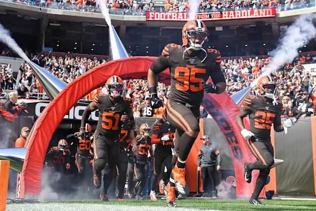 Defensive end Myles Garrett (95) of the Cleveland Browns still believes in his team. (Photo by: 2019 Nick Cammett/Diamond Images via Getty Images)