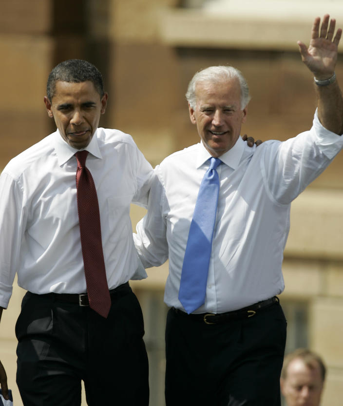 FILE - Democratic presidential candidate Sen. Barack Obama, D-Ill., left, and Sen. Joe Biden, D-Del., appear together outside the Old State Capitol on Aug. 23, 2008, in Springfield, Ill. Obama has chosen Biden to be his running mate. A new CNN Films documentary explores the role of the U.S. vice presidency, which in modern times has emerged into a more powerful position. Still, the film notes that a veep's duties are all up to the president. (AP Photo/Jeff Roberson, File)