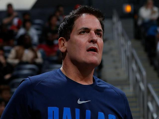 Mark Cuban, pictured in 2017, that it would be in the Dallas Mavericks' best interest to lose for the rest of the season in order to improve their position for the NBA draft