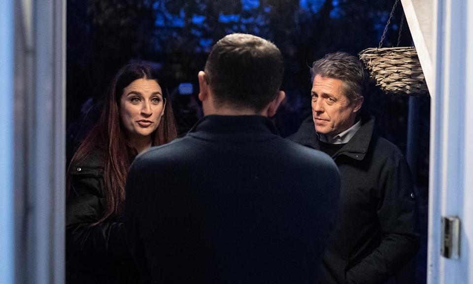 Hugh Grant campaigning alongside and Liberal Democrat candidate Luciana Berger, north London