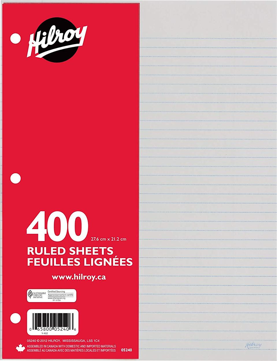 Hilroy Ruled Refill Paper, 3 Hole Punched, 10-7/8 X 8-3/8 Inches, 400 Sheets Per Pack, White (05240)