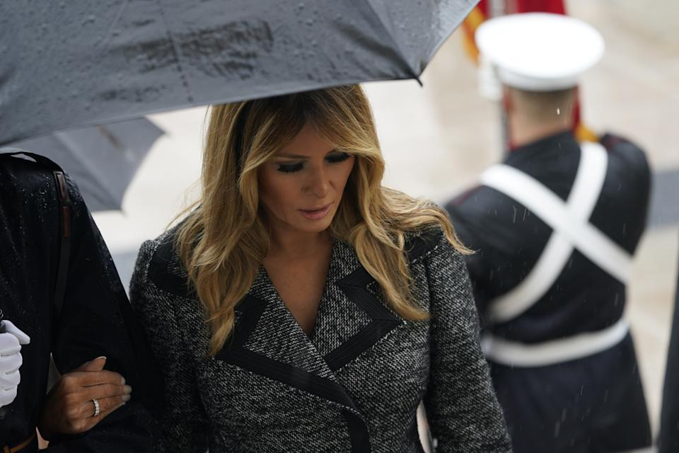 First lady Melania Trump after she and United States President Donald J. Trump participated in a  National Veterans Day Observance at Arlington National Cemetery in Arlington