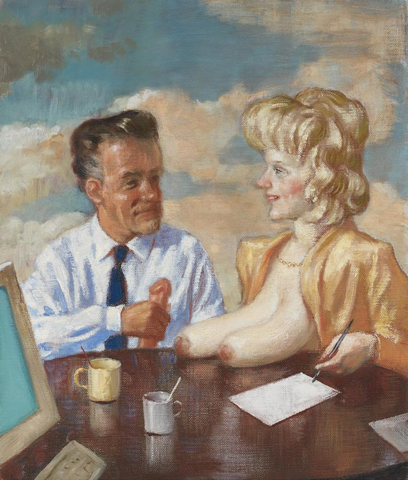 A man clutches a beautifully rendered penis in the presence of a woman's bazongas. Office Workers, 2010. Oil on canvas.