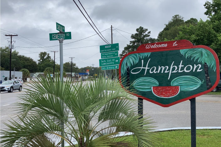 A sign welcomes people to the town of Hampton, S.C., on Monday, Sept. 20, 2021. Attorney Alex Murdaugh and his family have steered much of the legal world in this town of 2,600 for a century. (AP Photo/Jeffrey Collins)