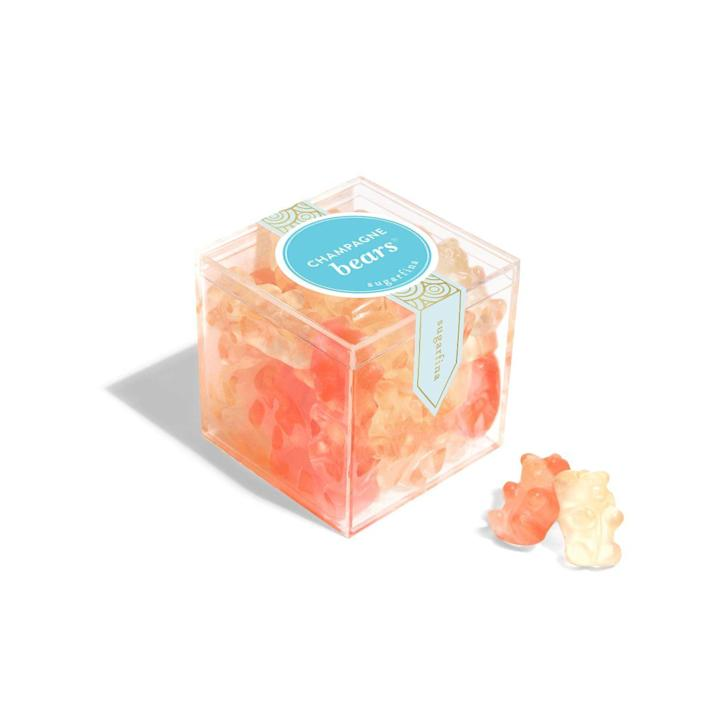 """<p><strong>Sugarfina</strong></p><p>sugarfina.com</p><p><strong>$3.00</strong></p><p><a href=""""https://www.sugarfina.com/champagne-bears"""" rel=""""nofollow noopener"""" target=""""_blank"""" data-ylk=""""slk:Shop Now"""" class=""""link rapid-noclick-resp"""">Shop Now</a></p><p>You might think sending over a big bottle of booze is inappropriate, but you can probably get away with sending in these Champagne gummy bears, which are made with Dom Pérignon. There are two flavors of bears in each package: brut and rosé. </p>"""