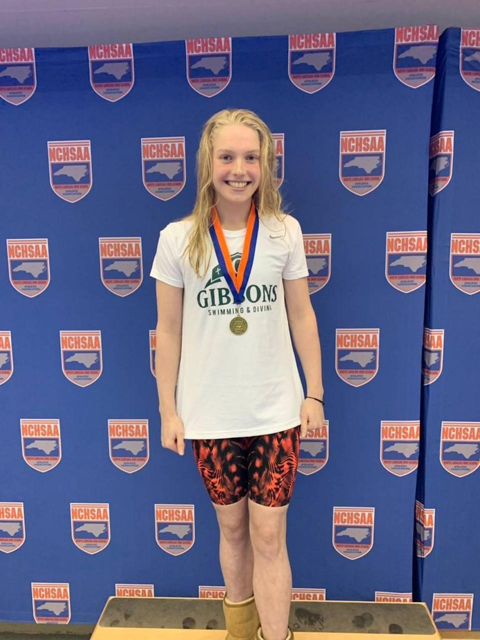 Claire Curzan, pictured in 2019 at age 14, has won multiple individual events at the N.C. High School Athletic Association state championships while competing for Raleigh's Cardinal Gibbons. At 16, she will be one of the youngest Olympians competing for the USA in Tokyo in July.