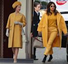 "<p>Another Queen Elizabeth ensemble, <a href=""https://www.harpersbazaar.com/culture/features/g5584/queen-elizabeth-style/"" rel=""nofollow noopener"" target=""_blank"" data-ylk=""slk:another colourful monochrome set"" class=""link rapid-noclick-resp"">another colourful monochrome set</a>. This time, it's a daring head-to-toe mustard look. Despite the Queen originally wearing the yellow look in 1965 on a trip to Germany, Priyanka Chopra proved that it still works, wearing something similar in London in 2019.</p>"