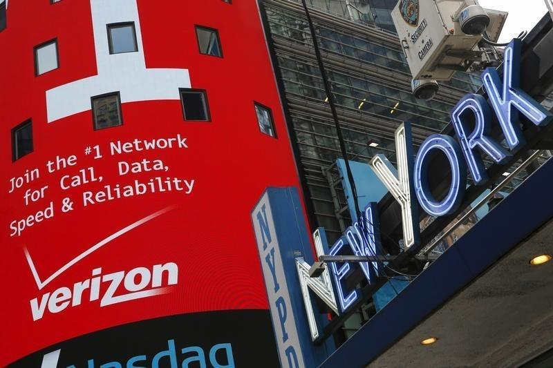 Advertisement for Verizon is seen at Times Square in New York