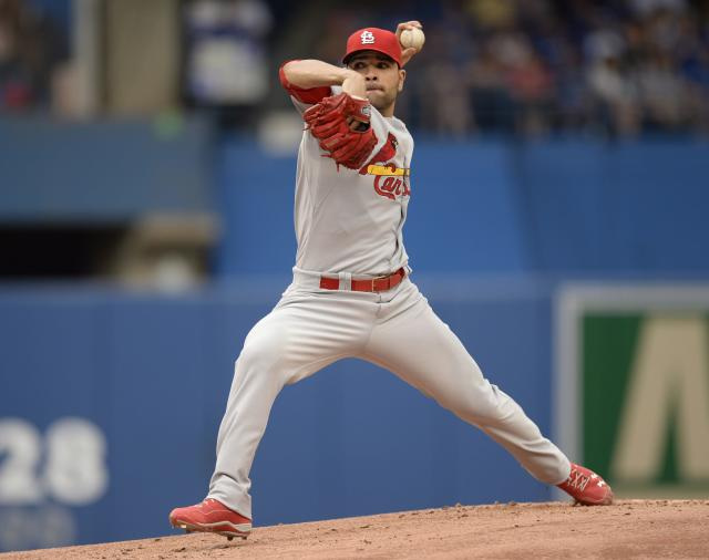 St .Louis Cardinals starter Jamie Garcia pitches to the Toronto Blue Jays during a baseball game in Toronto, Sunday, June 8, 2014. (AP Photo/The Canadian Press, Frank Gunn)