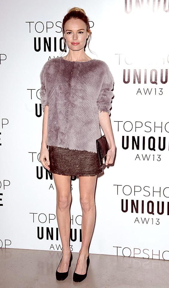 LONDON, ENGLAND - FEBRUARY 17:  Kate Bosworth attends the Topshop Unique Autumn/ Winter 2013 catwalk show at the Topshop Show Space on February 17, 2013 in London, England.  (Photo by Dave M. Benett/Getty Images)