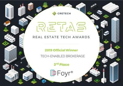 Foyr received the 3rd place honor in the Tech-Enabled Brokerage category of the 2019 Real Estate Tech Awards.