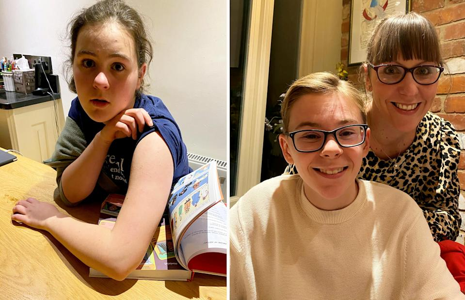 Phoebe Howard, 13, after having her vaccine (L), Bertie Wood, 12, with mum Laura Wood (R) (SWNS)