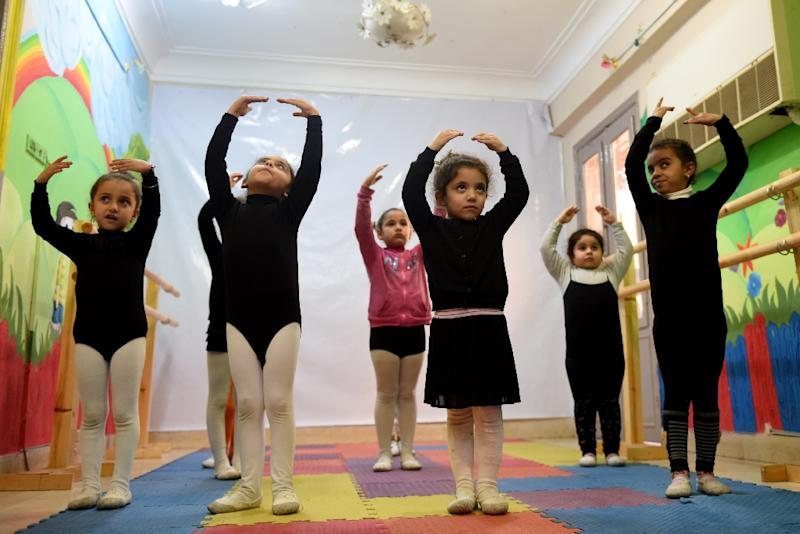 Girls practice ballet moves at Alwanat Cutlural Centre in the Upper Egyptian city of Minya, south of the capital Cairo (AFP Photo/Mohamed El-Shahed)