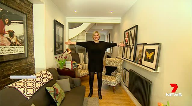 Owner Aimee Luther can almost touch the sides of her home. Source: 7News