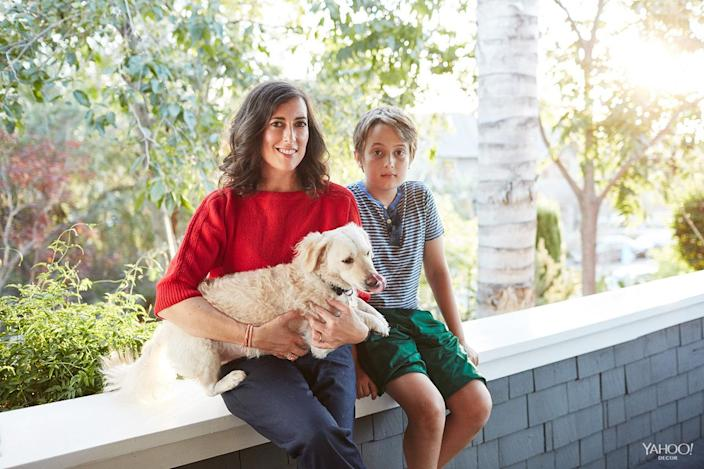 <p>Claire Vivier, her son, Oscar, and their dog, Paco <br></p>