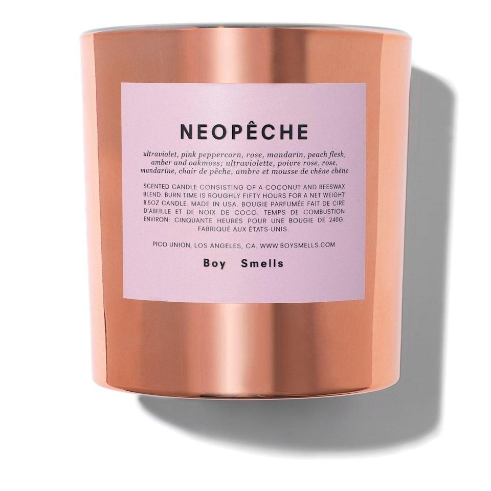 """<p>Boy Smells Neopeche</p><p>£45</p><p>Brownsfashion.com</p><p><a class=""""link rapid-noclick-resp"""" href=""""https://go.redirectingat.com?id=127X1599956&url=https%3A%2F%2Fwww.brownsfashion.com%2Fuk%2Fshopping%2Fcopper-tone-neopeche-candle-15959666%3Fgclid%3DCj0KCQiA0-6ABhDMARIsAFVdQv-nha98i8rbxgPtFiJCwLWUY0R3s_G87SpBv6v6PYi61CVTC7vXp4gaAp5iEALw_wcB&sref=https%3A%2F%2Fwww.harpersbazaar.com%2Fuk%2Fbeauty%2Ffragrance%2Fg30698193%2Fbest-scented-candles%2F"""" rel=""""nofollow noopener"""" target=""""_blank"""" data-ylk=""""slk:SHOP NOW"""">SHOP NOW </a></p><p>The sweet peach flesh that stars in this limited-edition scent is perfectly balanced by the earthy oakmoss and spicy pink peppercorns. It's gentle and soft, yet wholly unique. </p>"""