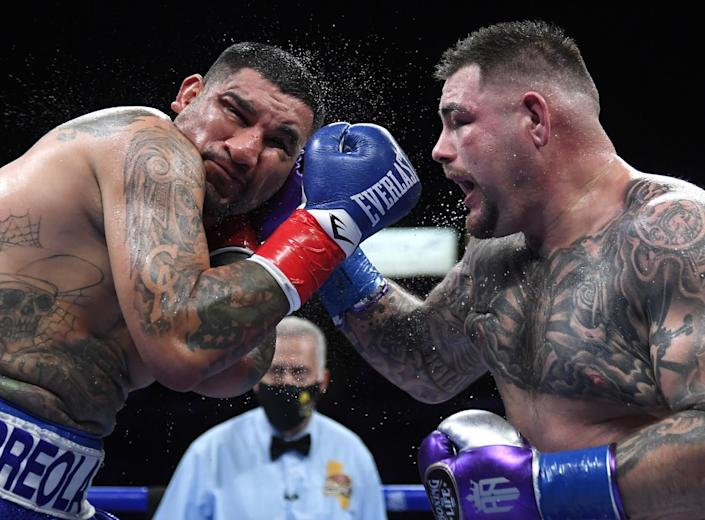 Andy Ruiz Jr., right, punches Chris Arreola during their heavyweight fight on Saturday.
