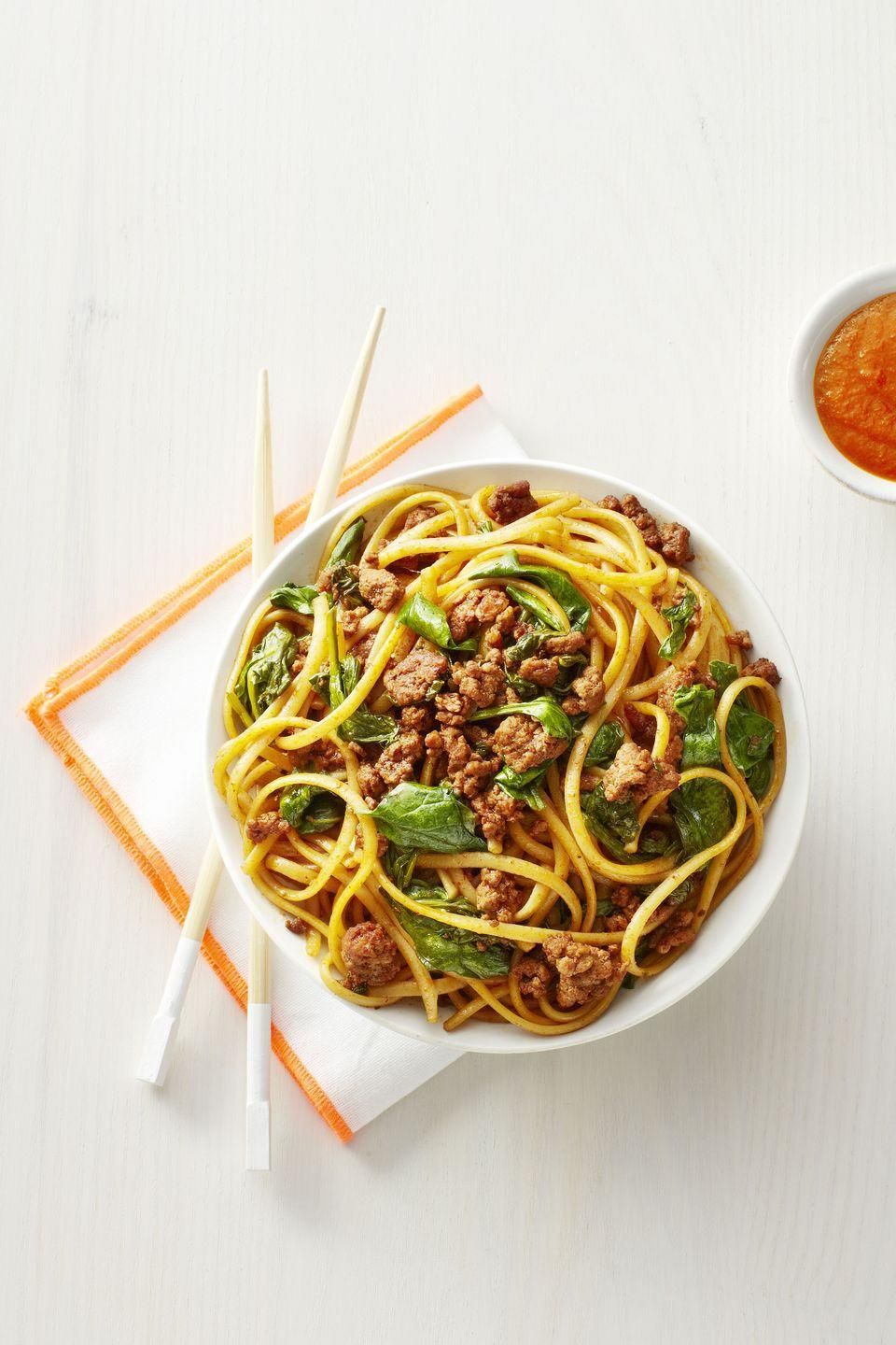 "<p>Standard spaghetti and meat sauce is always a crowd-pleaser, but ... snooze. This savory bowl of goodness is way more exciting and just as easy to throw together.</p><p><em><a href=""https://www.goodhousekeeping.com/food-recipes/a1439/hot-n-spicy-pork-noodles-recipe-ghk0215/?visibilityoverride"" rel=""nofollow noopener"" target=""_blank"" data-ylk=""slk:Get the recipe for Hot 'n' Spicy Pork Noodles »"" class=""link rapid-noclick-resp"">Get the recipe for Hot 'n' Spicy Pork Noodles »</a></em></p>"