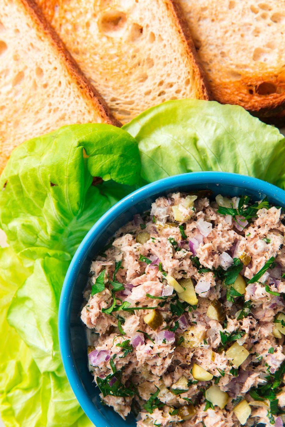 """<p>When a recipe is this good, it doesn't matter what your desk neighbours think.</p><p>Get the <a href=""""https://www.delish.com/uk/cooking/recipes/a30426006/best-tuna-salad-recipe/"""" rel=""""nofollow noopener"""" target=""""_blank"""" data-ylk=""""slk:Tuna Salad"""" class=""""link rapid-noclick-resp"""">Tuna Salad</a> recipe.</p>"""
