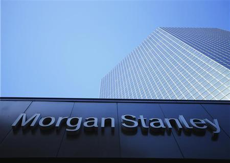 The corporate logo for financial firm Morgan Stanley is pictured on a building in San Diego