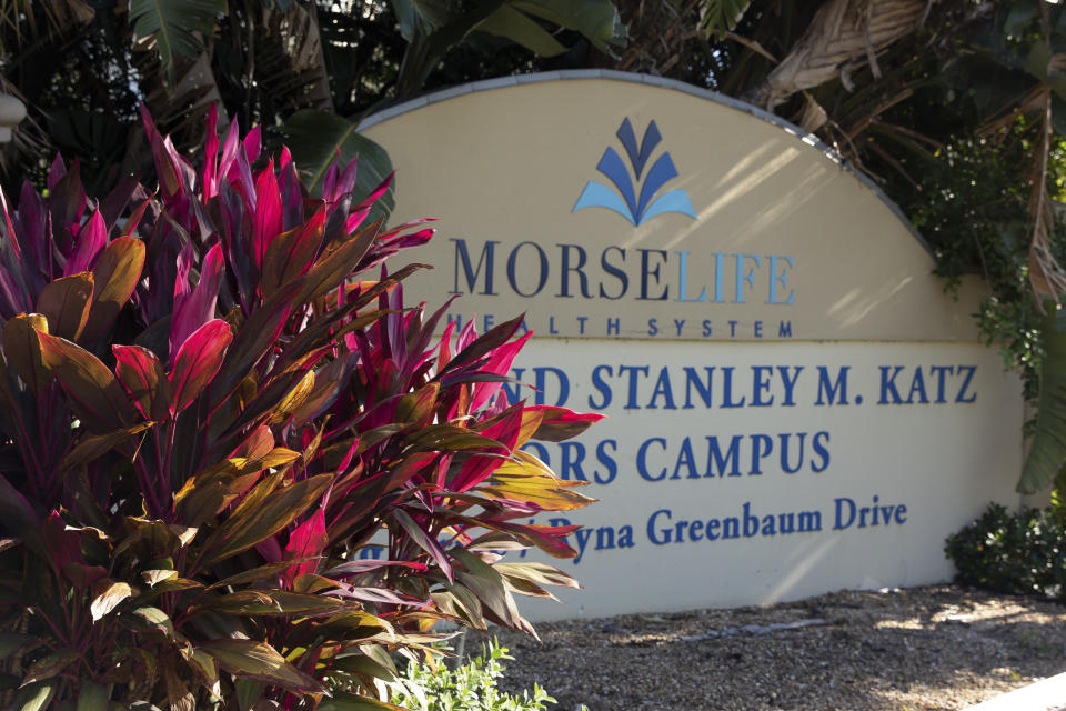 A MorseLife Health System sign is shown on Wednesday, Jan. 6, 2021 in West Palm Beach, Fla. Florida launched an investigation Wednesday into MorseLife Health System, a nonprofit that operates a nursing home and assisted living facility, amid reports that it administered coronavirus vaccines to wealthy donors and members of a country club along with its residents and employees. (AP Photo/Cody Jackson)
