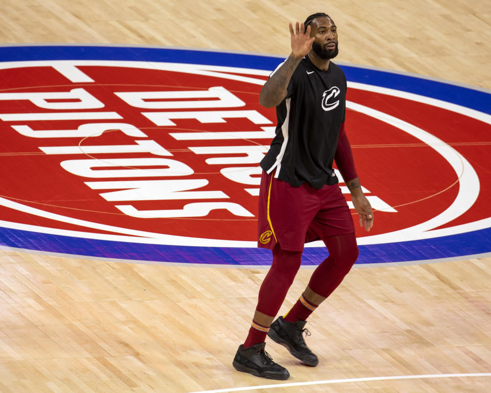 DETROIT, MI - DECEMBER 26: Andre Drummond #3 of the Cleveland Cavaliers shoots the ball in warmups prior to the Detroit Pistons home opener at Little Caesars Arena on December 26, 2020 in Detroit, Michigan. NOTE TO USER: User expressly acknowledges and agrees that, by downloading and or using this photograph, User is consenting to the terms and conditions of the Getty Images License Agreement. Cleveland defeated Detroit 128-119. (Photo by Dave Reginek/Getty Images)
