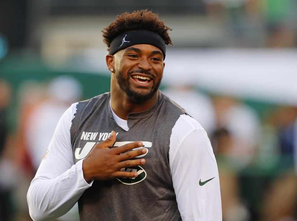 Aug 29, 2019; East Rutherford, NJ, USA; New York Jets strong safety Jamal Adams (33) reacts during warm ups before a game against the Philadelphia Eagles  at MetLife Stadium. Mandatory Credit: Noah K. Murray-USA TODAY Sports