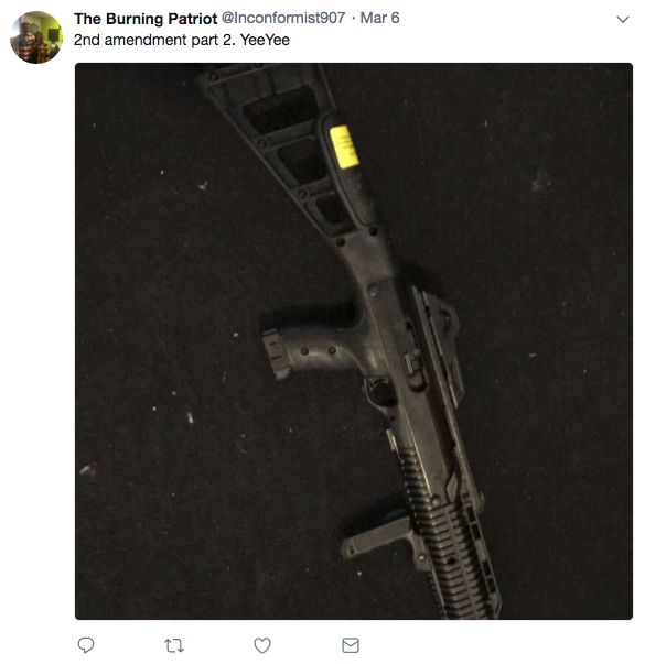 "Hala posted a photo of a Hi-Point model 4595, a .45 ACP semi-automatic rifle. (Photo: <a href=""https://twitter.com/Inconformist907/status/971157912167960576/photo/1"" rel=""nofollow noopener"" target=""_blank"" data-ylk=""slk:Twitter Inconformist907"" class=""link rapid-noclick-resp"">Twitter Inconformist907</a>)"