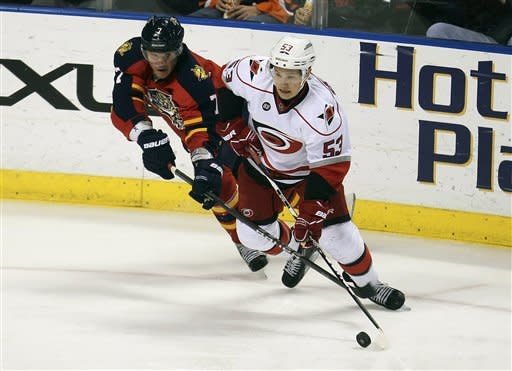 Florida Panthers' Dmitry Kulikov (7) tries to get the puck from Carolina Hurricanes' Jeff Skinner (53) during the second period of a NHL hockey game in Sunrise, Fla., Saturday, April 7, 2012. (AP Photo/J Pat Carter)