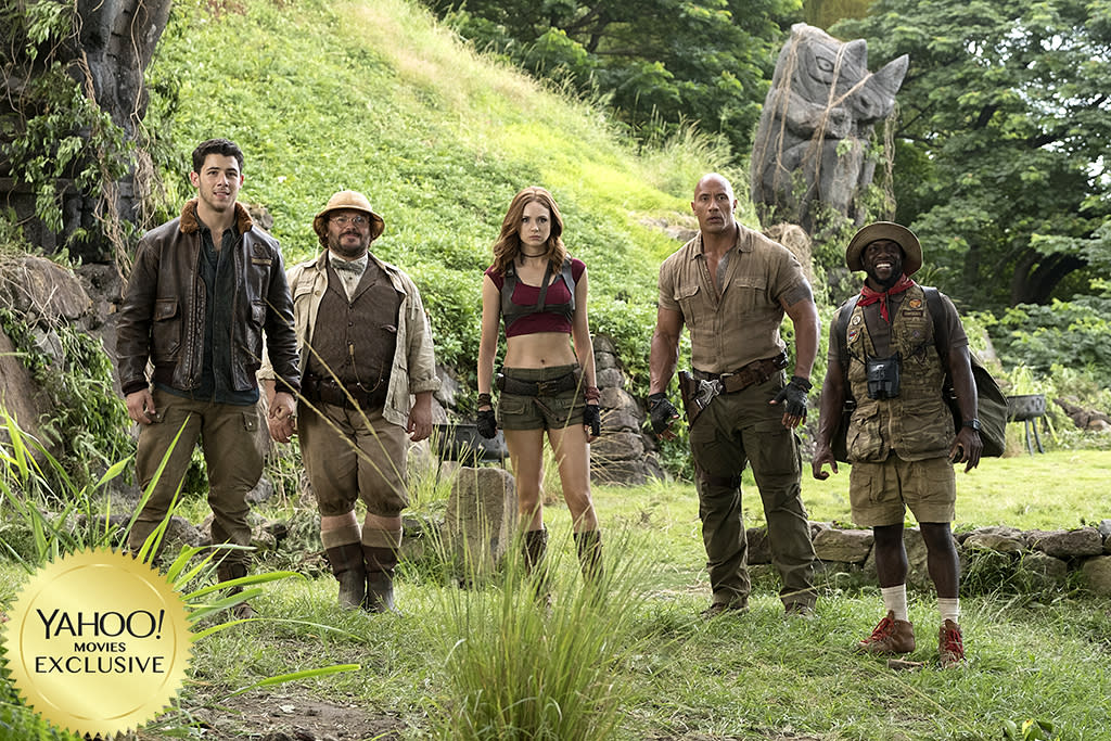 """<p><a rel=""""nofollow"""" href=""""https://www.yahoo.com/movies/film/baywatch""""><em>Baywatch</em></a> may have flopped, but <a rel=""""nofollow"""" href=""""https://www.yahoo.com/movies/tagged/dwayne-johnson"""">the Rock</a> will give rebooting another try with this sequel to the 1995 film, alongside <a rel=""""nofollow"""" href=""""https://www.yahoo.com/movies/tagged/kevin-hart"""">Kevin Hart</a>, <a rel=""""nofollow"""" href=""""https://www.yahoo.com/movies/tagged/karen-gillan"""">Karen Gillan</a>, and <a rel=""""nofollow"""" href=""""https://www.yahoo.com/movies/tagged/jack-black"""">Jack Black</a>. They'll play the avatars of four kids transported into a video game.   <a rel=""""nofollow"""" href=""""https://www.yahoo.com/movies/jumanji-welcome-jungle-first-trailer-game-dwayne-johnson-co-134537303.html"""">Trailer</a> (Sony) </p>"""