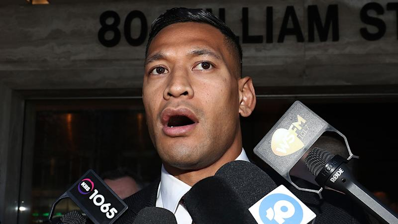 Pictured here, Israel Folau speaks to reporters about his legal battle with Rugby Australia.