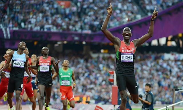 "<span class=""element-image__caption"">Kenya's David Rudisha winning the 800m final at the London 2012 Olympic Games in a world record time. </span> <span class=""element-image__credit"">Photograph: Olivier Morin/AFP/Getty Images</span>"