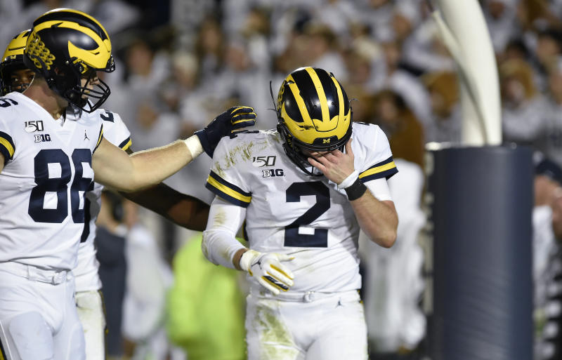 Shea Patterson said a Penn State player had a finger in his eye while he was scoring a fourth quarter touchdown on Saturday night. (Getty Images)