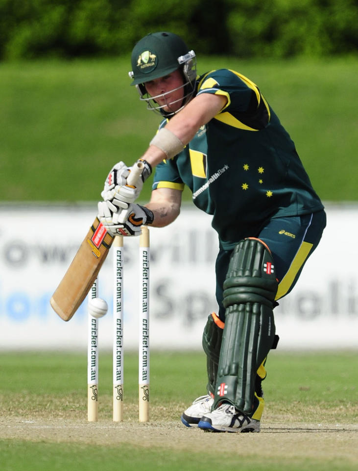 TOWNSVILLE, AUSTRALIA - APRIL 15:  James Peirson of Australia bats during the match between Australia and India on day five of the U19 International Quad Series at Tony Ireland Stadium on April 15, 2012 in Townsville, Australia.  (Photo by Ian Hitchcock/Getty Images)