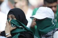 Saudi women seen ahead of the group A match between Russia and Saudi Arabia which opens the 2018 soccer World Cup at the Luzhniki stadium in Moscow, Russia, Thursday, June 14, 2018. (AP Photo/Hassan Ammar)