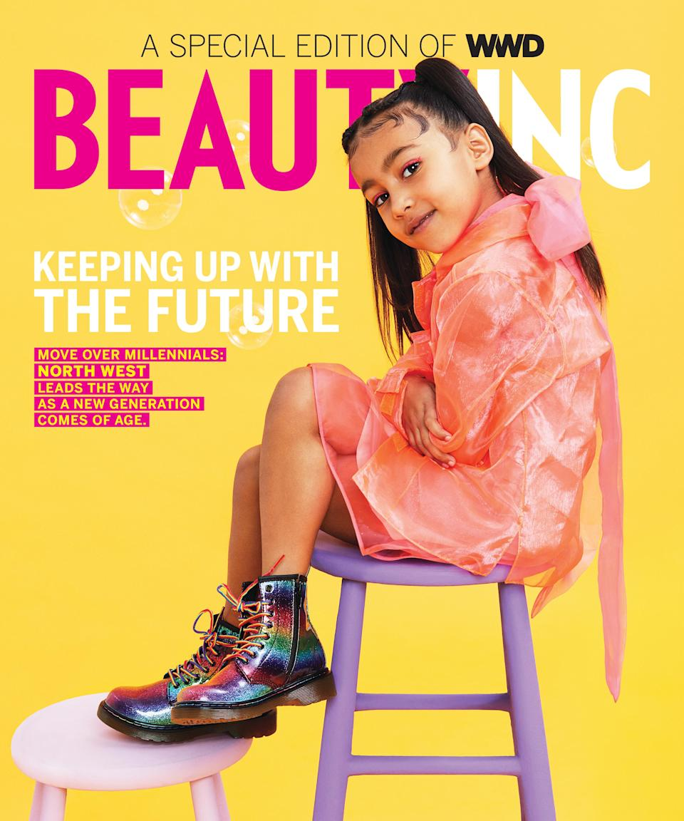 North West is featured in her first solo cover for WWD's Beauty Inc. (Photo: JUCO for WWD)